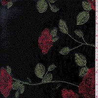 Black Embroidered Floral Velvet Knit