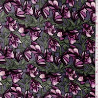 Periwinkle/Purple Fan Flower Stretch Velvet