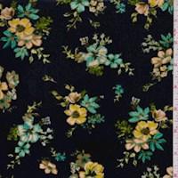 Deep Blue Floral Cluster Stretch Velvet