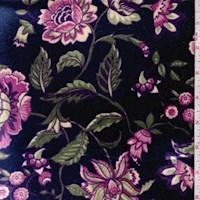 Sapphire/Jade Stylized Floral Stretch Velvet