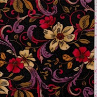 Amethyst Scroll Floral Stretch Velvet