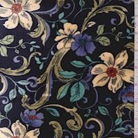 Dark Navy Scroll Floral Stretch Velvet