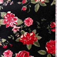 Black/Red Rose Floral Stretch Velvet