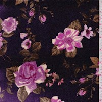 Grape Purple Rose Floral Stretch Velvet