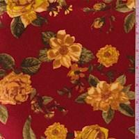 Deep Red Rose Floral Stretch Velvet