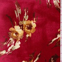 Ruby Mottled Floral Stretch Velvet