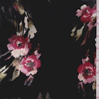 Black Mottled Floral Stretch Velvet