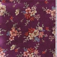 Magenta Purple Floral Cluster Stretch Velvet