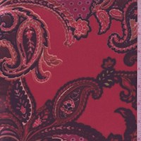 Bright Red/Fuchsia Paisley Stretch Velvet