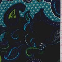 Indigo/Aqua Paisley Stretch Velvet