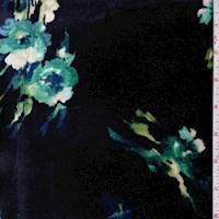 Dark Ink Blue Mottled Floral Stretch Velvet