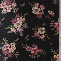 Black Floral Cluster Stretch Velvet
