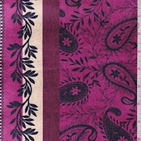 Aubergine/Navy Deco Stripe Stretch Velvet