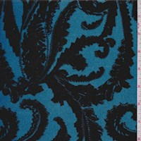 Sky Blue/Black Baroque Scroll Stretch Velvet