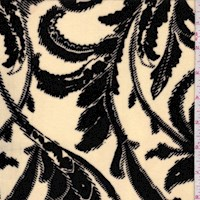 Cream/Black Baroque Scroll Stretch Velvet