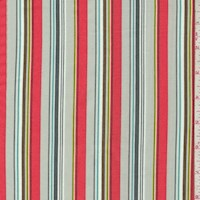 "Grey/Coral ""Woodland Walk"" Stripe Print Cotton"