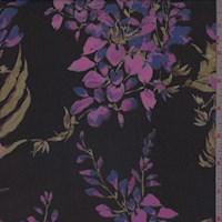 Black/Pink Wisteria Silk Chiffon