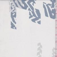 Pearl White/Slate Blue Aztec Crinkled Silk Chiffon