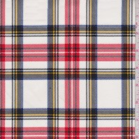 White/Red/Black Plaid Brushed Stretch Sateen