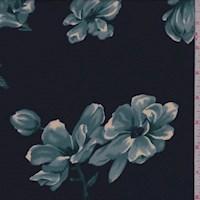 Navy/Teal Magnolia Floral Crepe Georgette