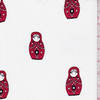 White/Red Nesting Dolls Crepe Georgette