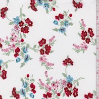 White/Crimson Floral Bunch Double Brushed Jersey Knit