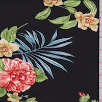 Black Multi Tropical Floral Double Brushed Jersey Knit