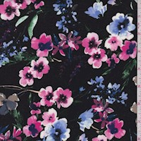 Black/Fuchsia Floral Garden Double Brushed Jersey Knit