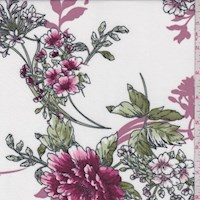 White/Berry/Mauve Peony Double Brushed Jersey Knit