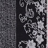 Black/White Floral Vine Double Knit