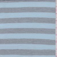 Pale Blue/Grey Stripe Tissue Jersey Knit
