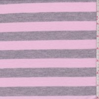 Pink/Grey Stripe Tissue Jersey Knit
