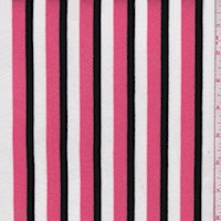 Salmon/Black/White Stripe Rayon Jersey Knit