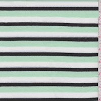 Mint/Black/White Stripe Rayon Jersey Knit