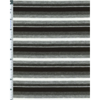 *1 YD PC--Black/Grey Striped Poly Blend Sweater Knit