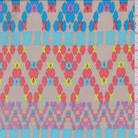 *8 YD PC--Sand/Aqua/Coral Cross Stitch Print Crepe