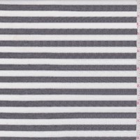White/Heather Grey Stripe Jersey Knit