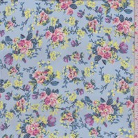 Cloud Blue Mini Floral Polyester Chiffon
