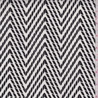 White/Black Printed Chevron Cotton Twill