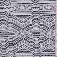 White/Charcoal Diamond Jacquard Double Knit