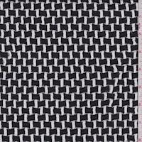 Black/White Ribbon Weave Jacquard Double Knit