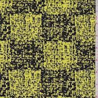 Lemon/Black Pixel Check Jacquard Double Knit
