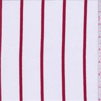 2 5/8 YD PC--White/Red Stripe Rayon Jersey Knit
