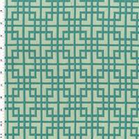 6 YD PC--Mint/Deep Teal Square Lattice Damask Home Decorating Fabric