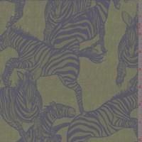 Avocado/Slate Blue Leaping Zebra Silk Crepe de Chine