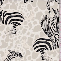 Ivory/Stone Leaping Zebra Silk Crepe de Chine