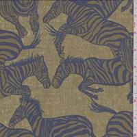 Olive/Slate Blue Leaping Zebra Silk Crepe de Chine