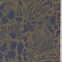Slate Blue/Olive Zebra Herd Silk Crepe de Chine