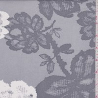 Misty Grey Cross Hatch Floral Micro Mesh