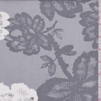 Misty Grey Cross Hatch Floral Micro Mesh